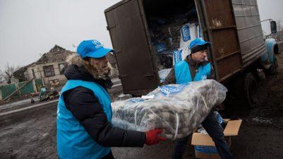 Refugiados: distribuição de itens para refugiados na ucrânia